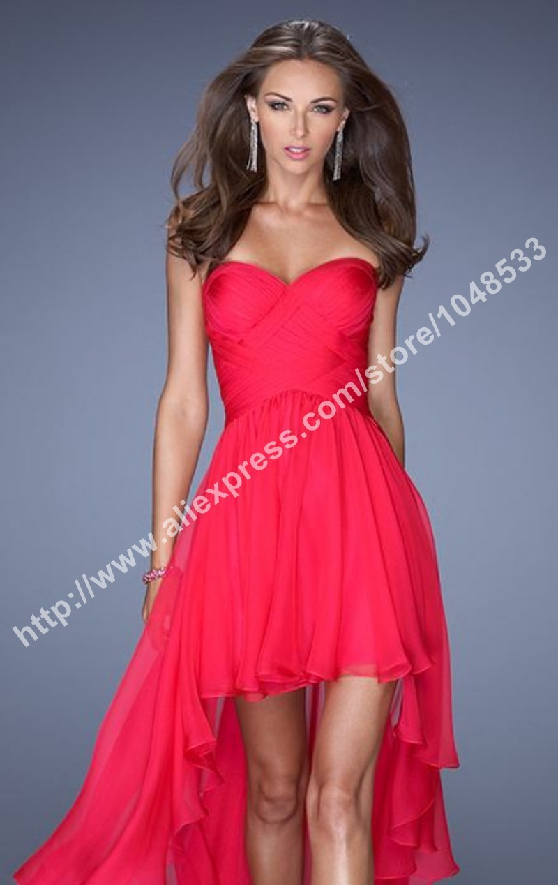 LF 19791 Elegant sleeveless sweetheart custom made red chiffon high low dresses-in Prom Dresses from Apparel & Accessories on Aliexpress.com