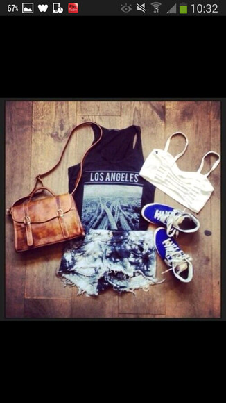 shorts blue shoes short tanktop los angeles black tanktop jeans short white bra brown bag bag t-shirt