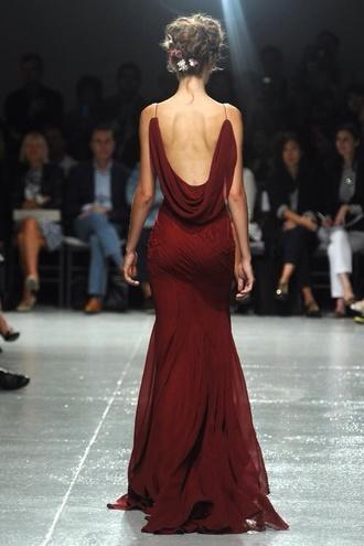 dress burgundy fashion luxury runway fashion show luxury fashion
