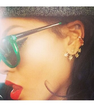 jewels rihanna gold earrings weed ear cuff earrings fashion celebrity style sunglasses marijuana leaves smoke diamonds ear cuff jewelry