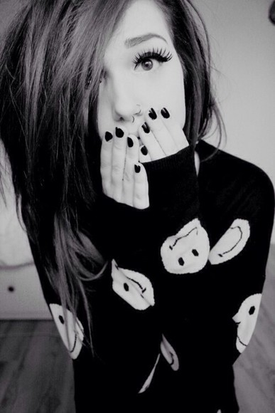 sweater smiley face black sweatshirt oversized sweater winter sweater smiley smile smiles knit sweater fall sweater cute sweaters
