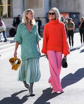 pants,pink pants,wide-leg pants,sweater,knitted sweater,oversized sweater,turtleneck sweater,skirt,midi skirt,plaid skirt,boots,high heels boots,v neck,sunglasses,handbag