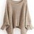 Khaki Batwing Sleeve Hollow Loose Sweater - Sheinside.com
