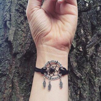 jewels cherry diva dreamcatcher dream catcher bracelet black bracelets costume jewlery fashion jewelry jewelry boho jewelry