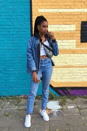 jeans,denim jacket,sneakers,white crop tops,belt bag,earrings