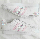 shoes,pink,adidas,pink adidas,pink sneakers,sneakers,stripes,superstar,supergirl,diamonds,bling,swarovski,crystal,gem,rhinestones,white,all white everything,pinksummer,one direction,sportswear