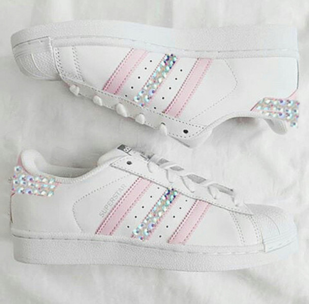 sports shoes 013c3 af1a8 shoes pink adidas pink adidas pink sneakers sneakers stripes superstar  supergirl diamonds bling swarovski crystal gem