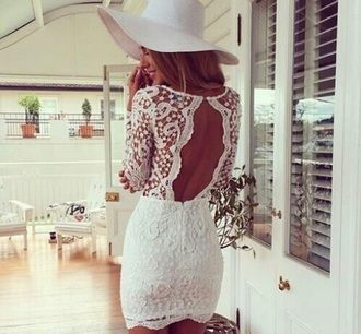 dress bodycon dress lace dress white dress hat short dress