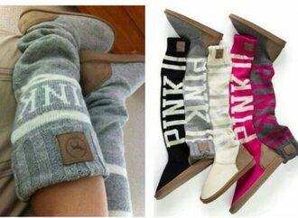 shoes victoria's secret victoria's secret love pink mukluk slouchy sweater slipper boots pink by victorias secret grey sweater boots