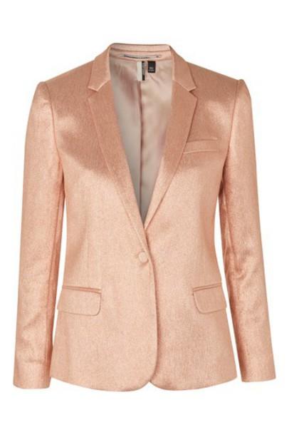 Topshop blazer glitter peach jacket
