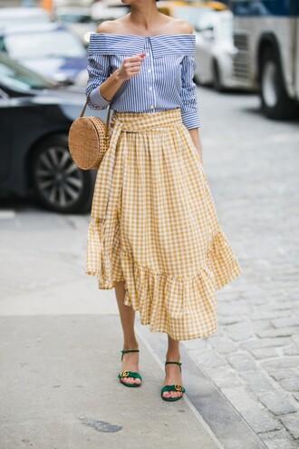 skirt gingham gingham skirt ruffle skirt sandals bardot top striped top summer bag basket bag blogger blogger style asymmetrical skirt