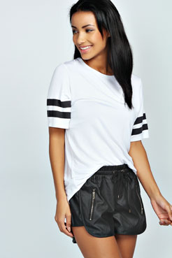 Dahlia Perforated Zip Leather Look Running Shorts at boohoo.com