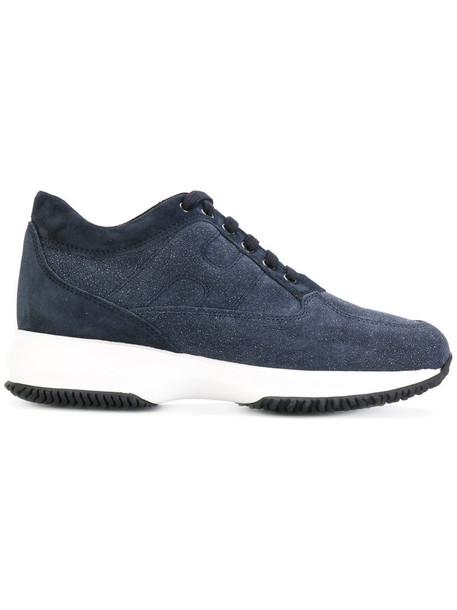 Hogan women sneakers platform sneakers leather blue suede shoes