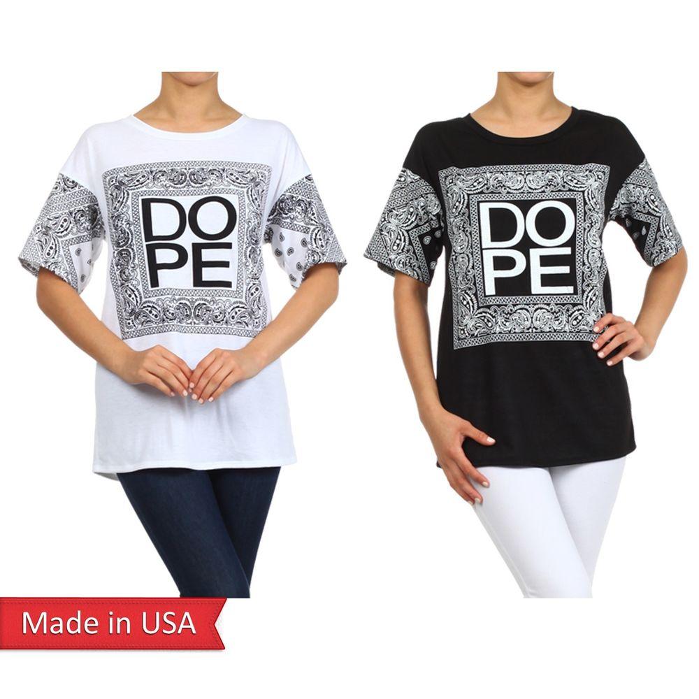 New Women Dope Bandana Paisley Print Black White Short Sleeves Top T Shirt USA