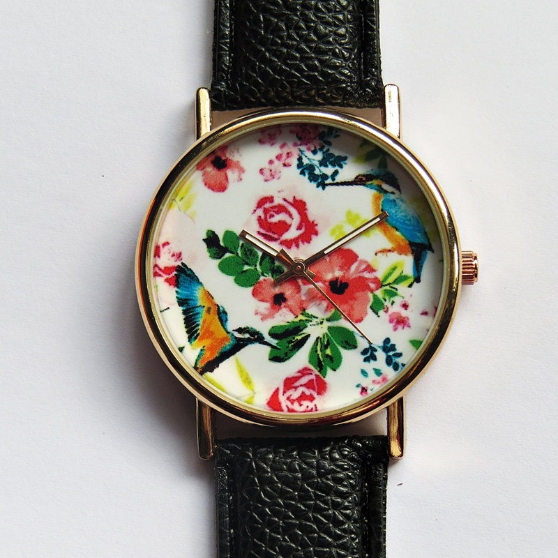 Hummingbird and Tropical Floral Watch, Vintage Style Leather Watch, Women Watches, Unisex Watch, Boyfriend Watch, Black, Tan, Rose Gold