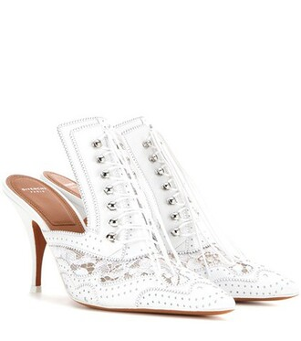 heel pumps lace leather white shoes