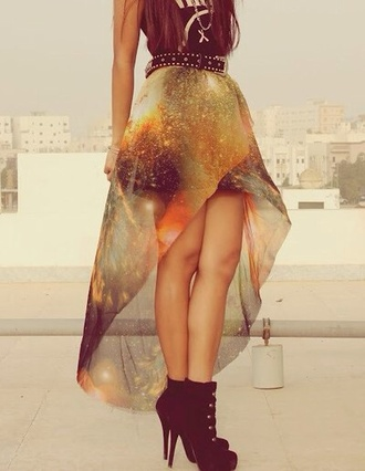skirt clothes galaxy print galaxy skirt long back midi skirt cute  outfits shoes black black  high heels