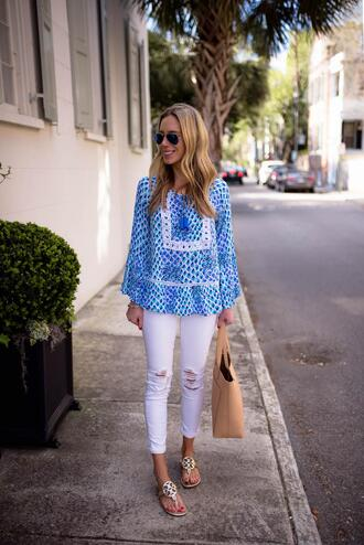 katie's bliss - a personal style blog based in nyc blogger top jeans bag shoes sunglasses jewels sandals tote bag white pants spring outfits