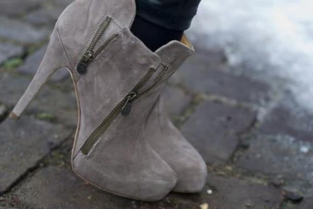 shoes, zip, grey, heels, bootie, grey