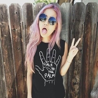 shirt grunge top grunge goth pastel goth hipster palm hippie boho chic summer pastel hair muscle tank vest top