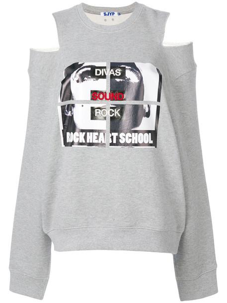 sweatshirt cut-out women cotton grey sweater
