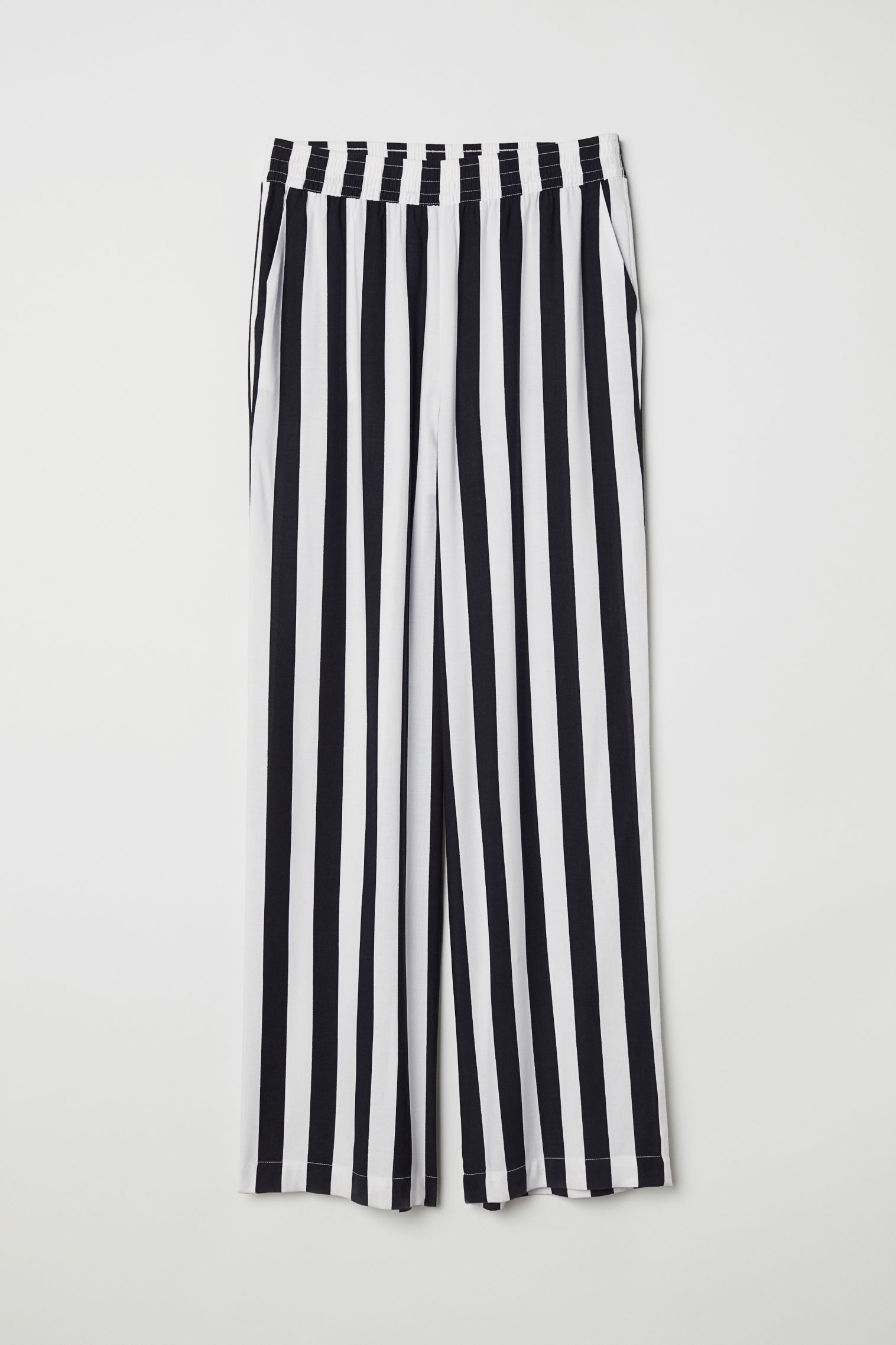 Wide-leg Pants - Black/white striped - Ladies | H&M US