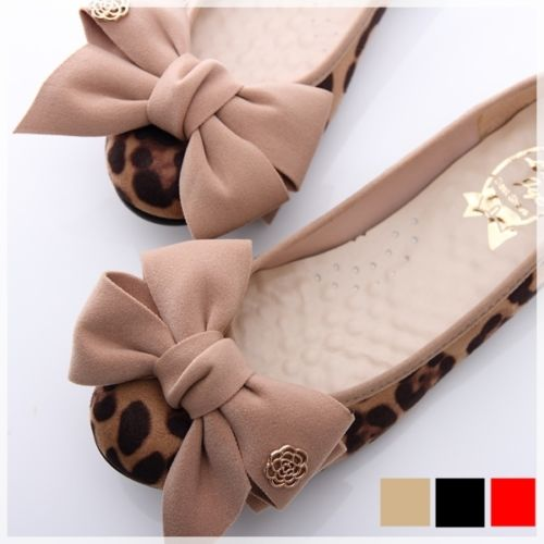 BN Romantic Bowed Ladies Wedding Ballet Flats Leopard Print Beige Red Black | eBay