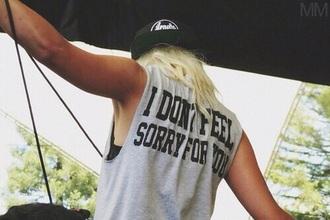 punk pop punk grey cotton tank top blonde hair indie summer top shirt