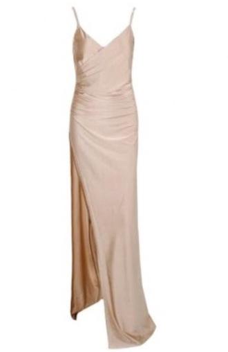 dress beige dress v neck dress front split  dress navy blue dress