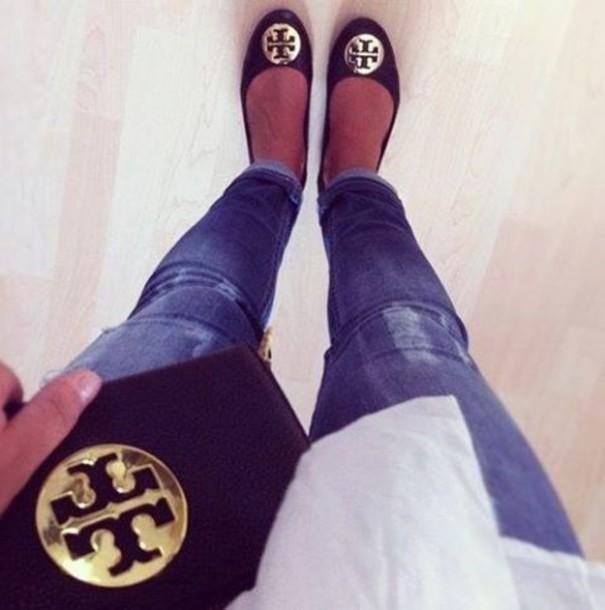 shoes bag black leather gold thin shirt celine ballerina flat flats ballet flats swag girl jeans white shirt bag skinny jeans blue jeans