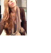 scarf,fur balls,cotton (i think),pretty,brown dress