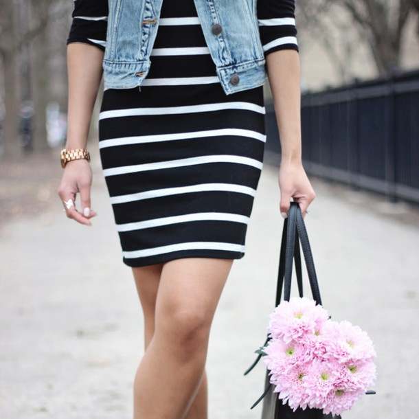 29dd995c95 dress the shopping bag black navy denim spring spring outfits stripes  striped dress striped dress black