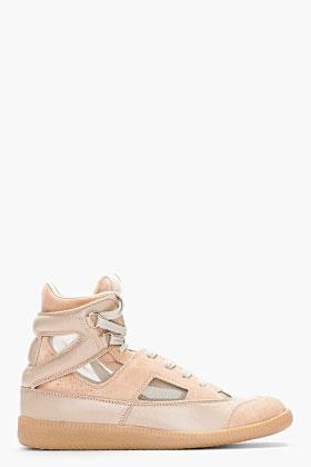 Maison Martin Margiela Beige Suede Mesh-trimmed Replica Sneakers for women | SSENSE