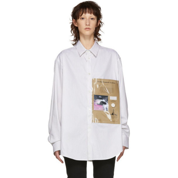 Raf Simons White & Beige Plastic Pocket Shirt