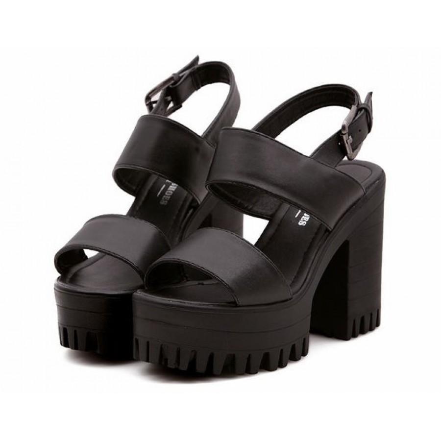 Black sandals chunky - Black Chunky Platform Strap 90s Sandals