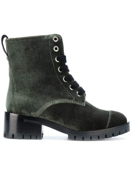 3.1 Phillip Lim women boots leather velvet green satin shoes