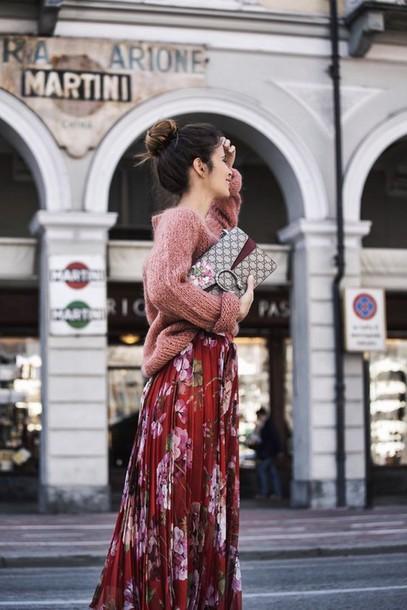 988b080546b bag gucci bag streetstyle maxi skirt sweater dionysus streetwear floral  maxi dress martini printed bag gucci