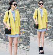 coat,clothes,blazer,vintage,yellow,neon,elegant,mixmoss.com