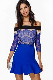 dress,bqueen,fashion,girl,blue,lace,sexy,chic,party,off the shoulder