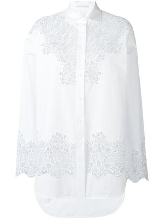 shirt cut-out women floral white cotton top