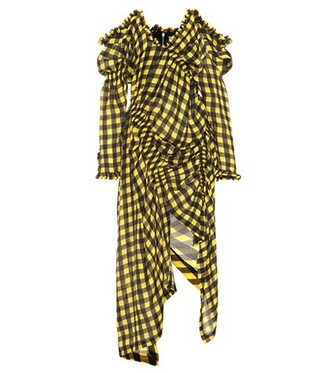 dress silk dress silk gingham yellow