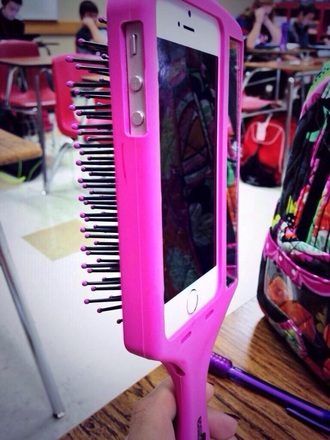 phone cover technology hair accessory brush iphone case iphone 5 case pink girly need ths! dope