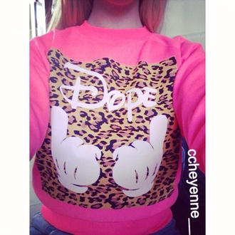sweater pink neon pink neon panther tiger print tigerprint pantherprint dope disney mickey mouss hand