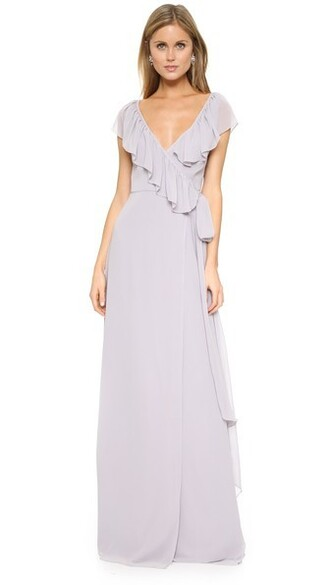 dress wrap dress ruffle v neck silver