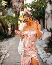dress,off the shoulder dress,checkered,button up,ruffle dress,maxi dress,high low dress,handbag,aviator sunglasses