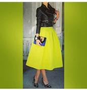 neon skirt,biker jacket,leather jacket,bright green skirt,midi skirt,jacket
