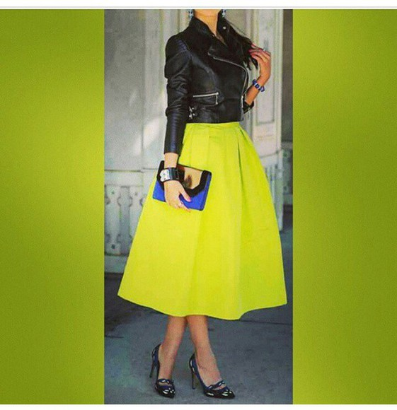 neon skirt biker jacket leather jacket bright green skirt midi skirt