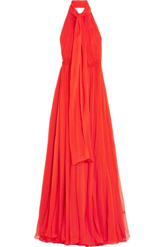 gown chiffon silk red dress