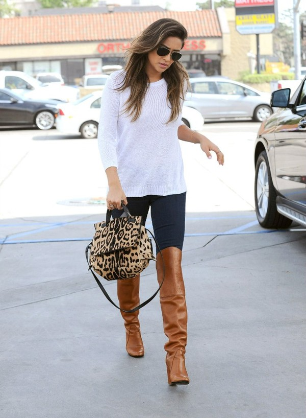 Bag Leopard Bag Knee High Boots Shoes Sweater Jeans