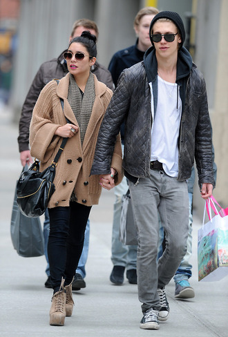 jacket cardigan beige cardigan brown cardigan brown winter outfits fall outfits beige shoes black trousers austin butlers sunglasses brown outfit ootd paparazzi vanessa hudgens